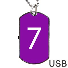 Number 7 Purple Dog Tag USB Flash (One Side)