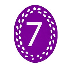 Number 7 Purple Oval Filigree Ornament (Two Sides)