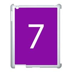 Number 7 Purple Apple iPad 3/4 Case (White)