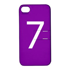 Number 7 Purple Apple iPhone 4/4S Hardshell Case with Stand