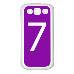 Number 7 Purple Samsung Galaxy S3 Back Case (White)