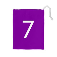 Number 7 Purple Drawstring Pouches (Large)