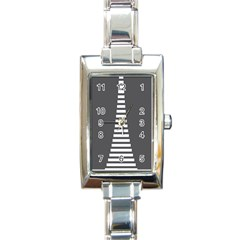 Minimalist Stairs White Grey Rectangle Italian Charm Watch