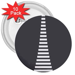 Minimalist Stairs White Grey 3  Buttons (10 pack)