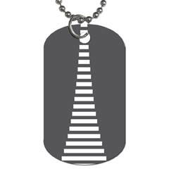 Minimalist Stairs White Grey Dog Tag (One Side)