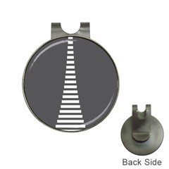 Minimalist Stairs White Grey Hat Clips with Golf Markers