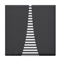 Minimalist Stairs White Grey Face Towel
