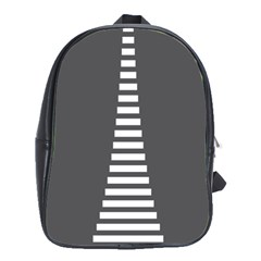 Minimalist Stairs White Grey School Bags(Large)