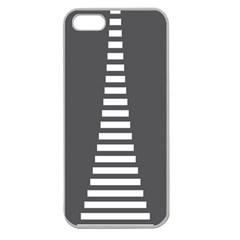 Minimalist Stairs White Grey Apple Seamless iPhone 5 Case (Clear)