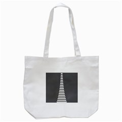 Minimalist Stairs White Grey Tote Bag (White)