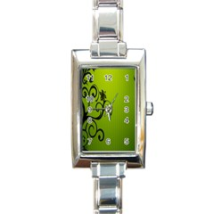 Illustration Wallpaper Barbusak Leaf Green Rectangle Italian Charm Watch