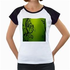 Illustration Wallpaper Barbusak Leaf Green Women s Cap Sleeve T