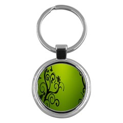 Illustration Wallpaper Barbusak Leaf Green Key Chains (Round)