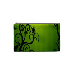 Illustration Wallpaper Barbusak Leaf Green Cosmetic Bag (Small)
