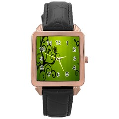 Illustration Wallpaper Barbusak Leaf Green Rose Gold Leather Watch