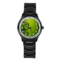 Illustration Wallpaper Barbusak Leaf Green Stainless Steel Round Watch