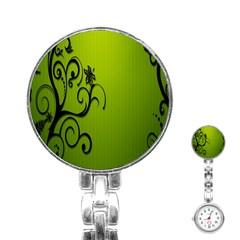 Illustration Wallpaper Barbusak Leaf Green Stainless Steel Nurses Watch