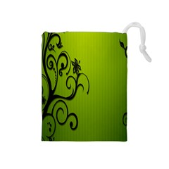 Illustration Wallpaper Barbusak Leaf Green Drawstring Pouches (Medium)