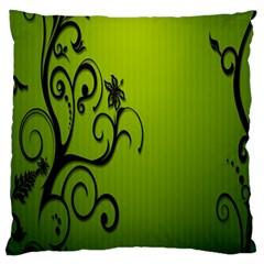 Illustration Wallpaper Barbusak Leaf Green Large Flano Cushion Case (One Side)