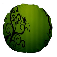 Illustration Wallpaper Barbusak Leaf Green Large 18  Premium Flano Round Cushions