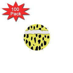 Leopard Polka Dot Yellow Black 1  Mini Buttons (100 pack)
