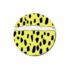 Leopard Polka Dot Yellow Black Rubber Round Coaster (4 pack)