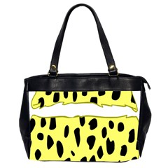 Leopard Polka Dot Yellow Black Office Handbags (2 Sides)