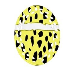 Leopard Polka Dot Yellow Black Ornament (Oval Filigree)