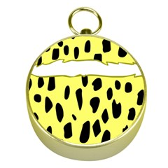 Leopard Polka Dot Yellow Black Gold Compasses