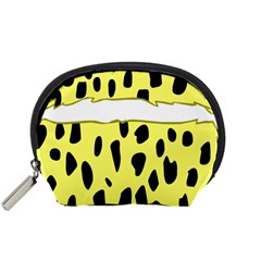 Leopard Polka Dot Yellow Black Accessory Pouches (Small)