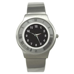 Oklahoma Circle Black Glitter Effect Stainless Steel Watch