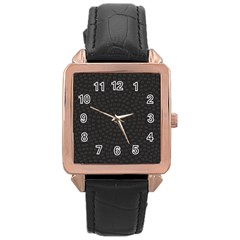 Oklahoma Circle Black Glitter Effect Rose Gold Leather Watch