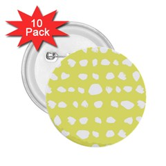 Polkadot White Yellow 2.25  Buttons (10 pack)
