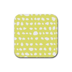 Polkadot White Yellow Rubber Coaster (Square)