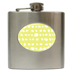 Polkadot White Yellow Hip Flask (6 oz)