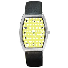 Polkadot White Yellow Barrel Style Metal Watch