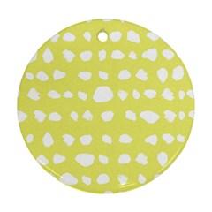 Polkadot White Yellow Round Ornament (Two Sides)
