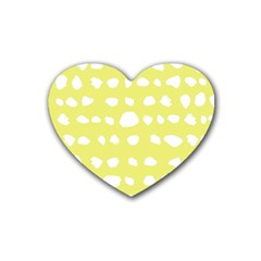 Polkadot White Yellow Heart Coaster (4 pack)