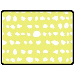 Polkadot White Yellow Fleece Blanket (Large)