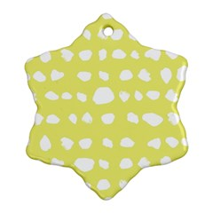 Polkadot White Yellow Snowflake Ornament (Two Sides)