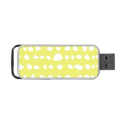 Polkadot White Yellow Portable USB Flash (One Side)