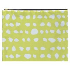 Polkadot White Yellow Cosmetic Bag (XXXL)