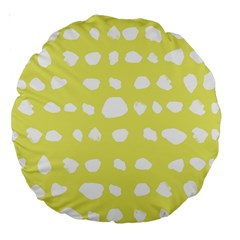 Polkadot White Yellow Large 18  Premium Round Cushions