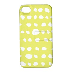 Polkadot White Yellow Apple iPhone 4/4S Hardshell Case with Stand
