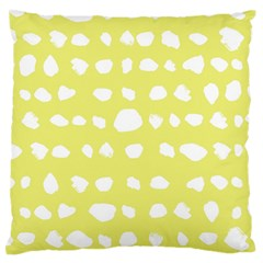 Polkadot White Yellow Large Flano Cushion Case (Two Sides)