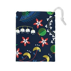 Origami Flower Floral Star Leaf Drawstring Pouches (Large)