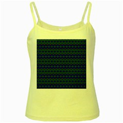 Split Diamond Blue Green Woven Fabric Yellow Spaghetti Tank