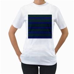 Split Diamond Blue Green Woven Fabric Women s T-Shirt (White) (Two Sided)