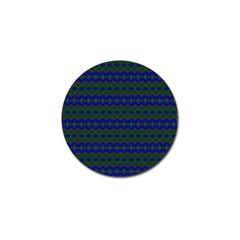 Split Diamond Blue Green Woven Fabric Golf Ball Marker (4 pack)