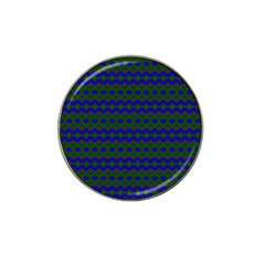 Split Diamond Blue Green Woven Fabric Hat Clip Ball Marker (10 pack)